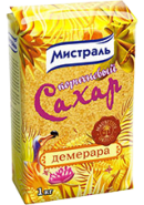 МИСТРАЛЬ-КОРИЧНЕВЫЙ САХАР 1кг.*12-ДЕМЕРАРА